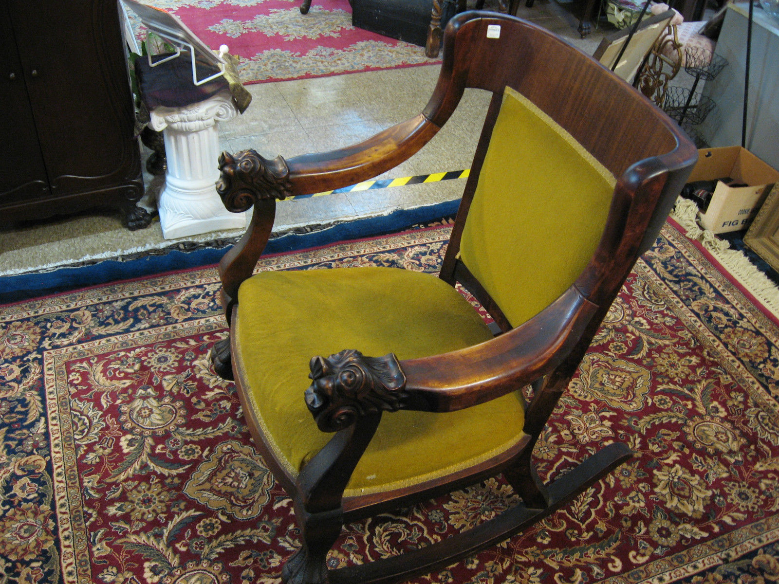$385.00  Antique Hand Carved Mahogany Wood Lion Rocking Chair