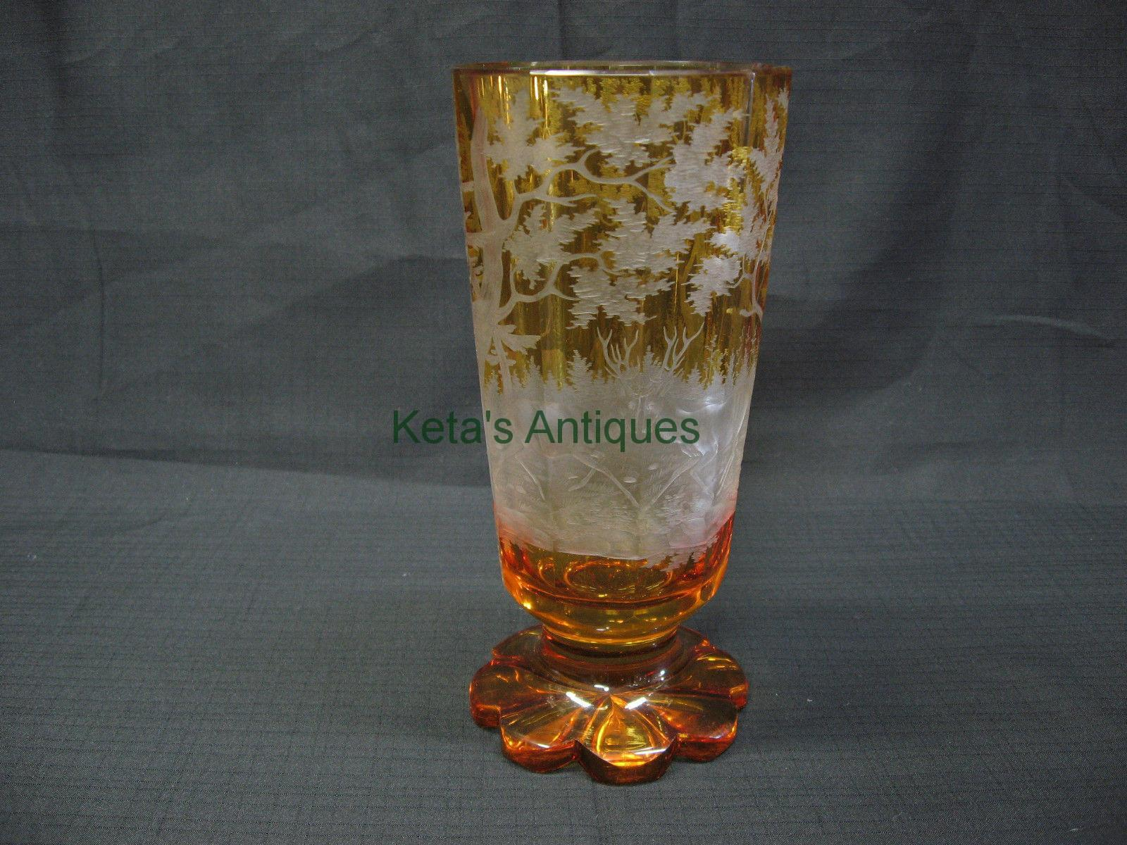 Cut glass ketas antiques 1860s amber vase engraved reviewsmspy