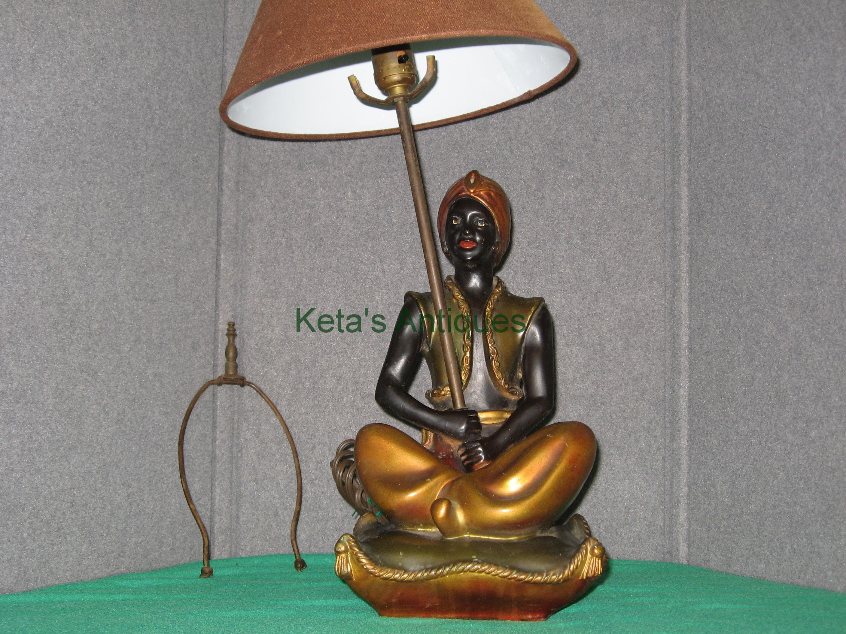 Lighting ketas antiques oriental rugs aladdin black face table lamp plaster geotapseo Image collections