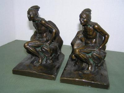 Bronze Indian bookend