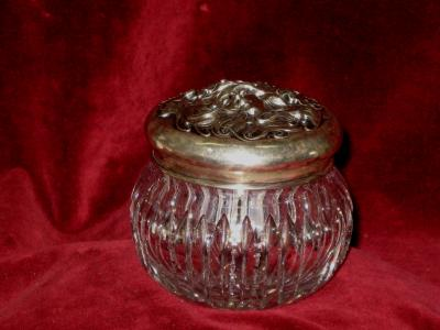 Cut Glass Jar Sterling