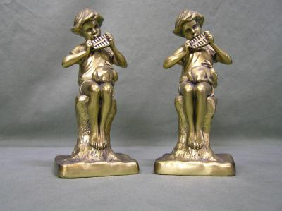 Brass Bookends Boy Playing instrument