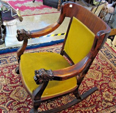 ROCKING Chair Hand Carved Mahogany