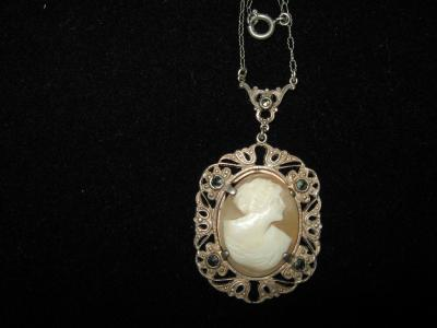 Cameo pendant necklace Sterling